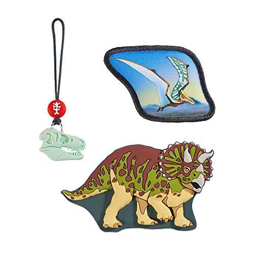 """Step by Step Magic Mags """"Dino Life"""", 3-teilig, 2 Magnet-Applikationen und 1 Anhänger, als Ergänzung für den Schulranzen oder Vorschulrucksack, für Jungen"""