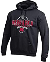 Champion Nebraska Cornhuskers Black Football Powerblend Screened Hoodie Sweatshirt (Large)