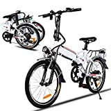 20 Inch Folding Electric Bike, Electric Bicycle with 36V 8Ah Removable Lithium-Ion Battery, Lightweight Ebike with 250W Motor and 7 Speed Gears