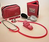 Kit para médicos generalistas rosa que incluye tensiómetro aneroide, estetoscopio, luz de bolígrafo (linterna de bolígrafo) y torniquete.
