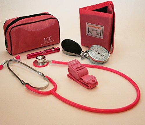 ICE Medical Blutdruckmessgerät, mit Stethoskop, Stiftleuchte und Druckmanschette, aneroid, Rosa