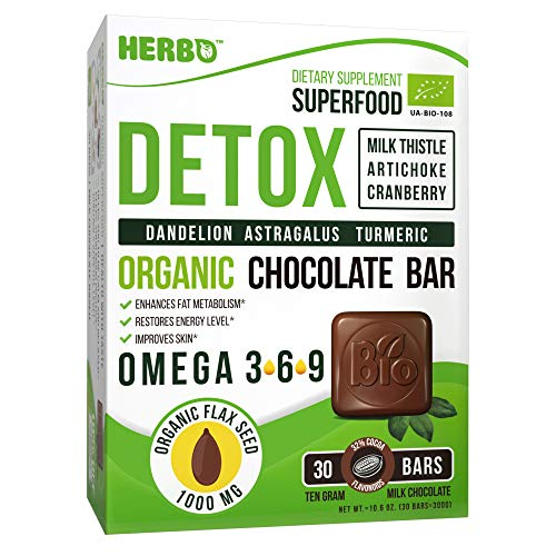 Detox Organic in Milk Chocolate by Herbo Superfood - Best Liver & Body Cleanse, for Weight Loss - 30 Delicious Bars with Milk Thistle, Artichoke, Cranberry, Dandelion, Astragalus, Turmeric & Omega 3
