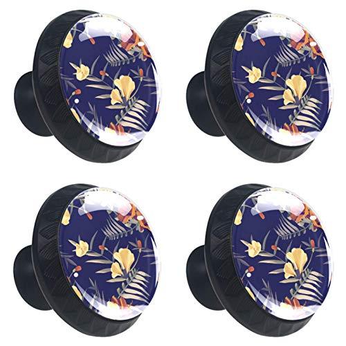 Tiradores de cajón de flores tropicales, color negro, 30 mm, 4 unidades de tiradores de cajón de cristal para el hogar, cocina y armario