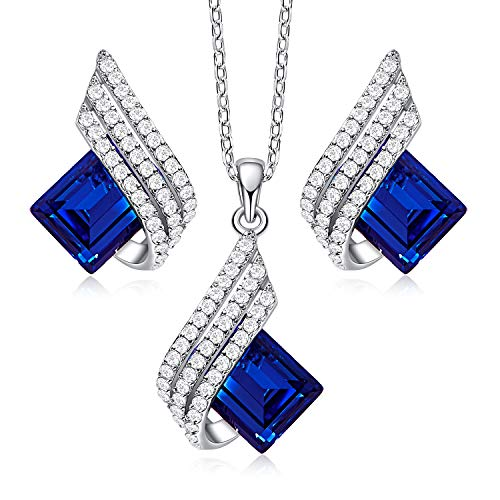 CDE Earrings and Necklace Set for Women Sapphire Set with CZ Diamonds S925 Sterling Silver Jewelry Set with Crystals from Best Gift Christmas for Girl Sister Mom