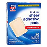 Rite Aid Sheer Adhesive Bandages with Sterile Non Stick Pad, 3' x 4' - 20 Count | Latex Free | Wound Care Supplies | Bandage Wrap | First Aid Supplies | Medical Tape for Skin Bandages | Bandage Wrap