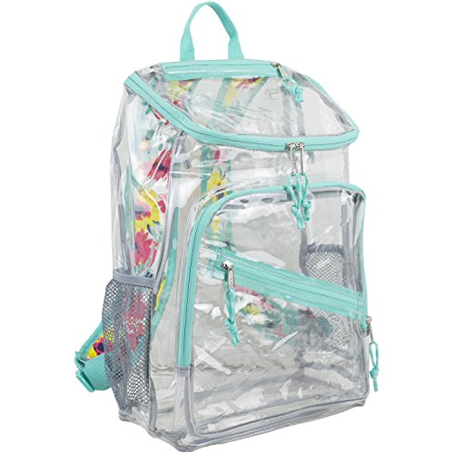 Eastsport Durable Clear Top Loader Backpack with Adjustable Printed Straps - Transparent - Turquoise/Watercolor Floral Print Straps