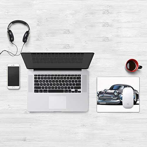 Mauspad Größe (32 x 25 cm),Cars, Retro-inspiriertes Autodesign mit asymmetrischen Reifen Schn,Mousepad Design Extra stark vernähter Rand und gummierte Unterseite geeignet für Office und Gaming mauspad