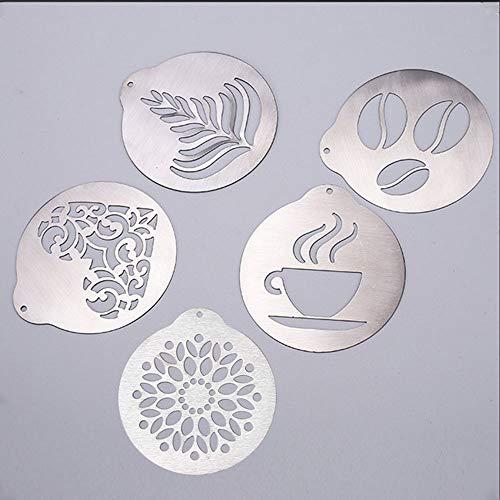 5 x Edelstahl-Schablonen für Kaffee-Dekorationen, Schablonen für Barista, Cappuccino, Kunstvorlagen