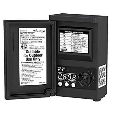Malibu LED 45watt Outdoor Low Voltage Transformer with Digital Timer and Photo Eye for DIY Outdoor Landscape Lighting.