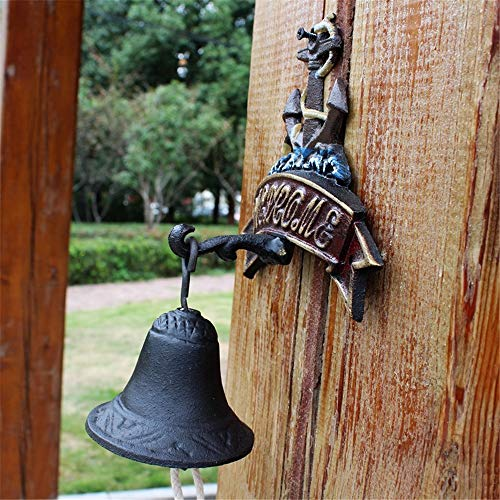 Vintage Bell Cast Iron Wandmontage Vintage Bell Cast Iron Anchor deurbel tuindecoratie for Garden Shop Coffee Hangers voor Garden Farmhouse Yard (Color : Multi-colored, Size : Free size)