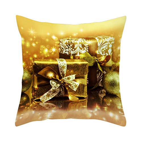 Shan-S Merry Christmas Pillow Cover Snowflakes and Happy New Year Decorative Pillow Cases Polyester Peach Sofa Couch Case Bed Sofa Couch Decoration Pillowcase 18×18 Inch