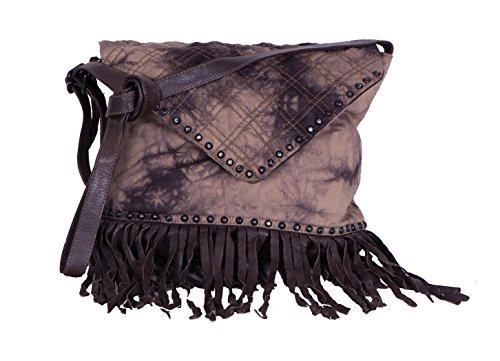 Proud Handtasche Rosalur Schultertasche aus Canvas im Batiklook mit Leder, Fransen und Nieten
