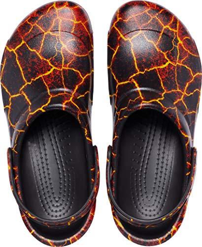 Crocs Bistro Graphic Clog Unisex Adulta Zuecos, Negro (Black/Flame), 38/39 EU
