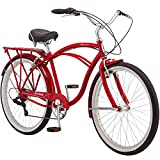 Schwinn Sanctuary 7 Comfort Cruiser Bike, Featuring Retro-Styled 18-Inch/Medium Steel Step-Over Frame and 7-Speed Drivetrain with Front and Rear Fenders, Rear Rack, and 26-Inch Wheels, Red
