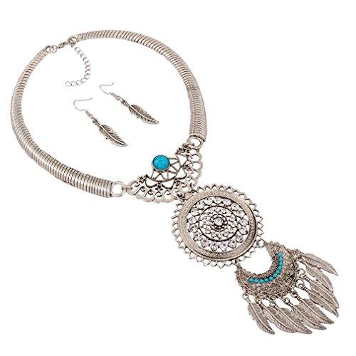YAZILIND Women Bohemian Power Silver Feather Tassel Drop Earrings Choker Ethnic Statement Necklace Jewelry Set