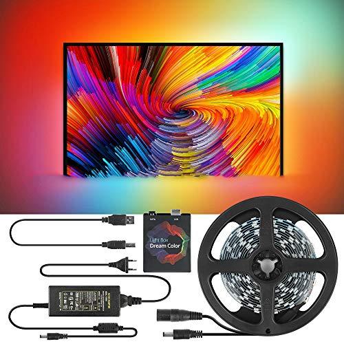 DIY Ambilight TV PC Traumbildschirm USB-LED-Streifen, 30 LED LED-TV-Hintergrundbeleuchtung Streifen, HD-TV-Computer Monitor Hintergrundbeleuchtung für PC-Monitor/Heimkino adressierbar (5M)