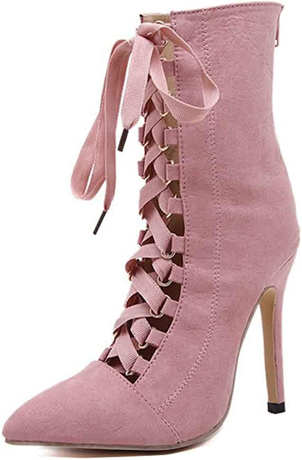 Unm Women's Sexy Cutout Pointed Toe Lace up High Top Stiletto High Heels Ankle Boots with Zipper