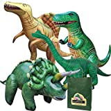Jet Creations 4-pk Inflatable Dinosaurs Combo, T-rex Brachiosaurus, Spinosaurus, Triceratops. Great for Pool, Party Decoration. Size Range Approx. 37 to 53 inch, Multicolor