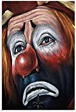 Sad Clown Poster Painting on Canvas Bedroom Wall Art Decoration Pictures For Living Room Home Decor (Framed,12x18inch)