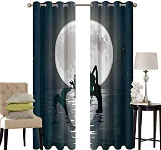 hengshu Underwater Pattern Curtains Blackout Mermaid Singing at Night Silhouette Full Moon Rays Mythical Ornament Art Print Bedroom Decor Living Room Decor W52 x L36 Inch Black Grey