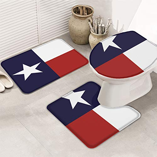 3 Piece Bath Rug Set Western Decor Bathroom Rug Texas State Lone Star State Flag Non Slip Bath Mats for Bathroom Absorbent Mats Set
