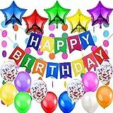 """Jonami Decorazione Festa di Compleanno. Bandierine di Buon Compleanno """"Happy Birthday"""" +5 Palloncini a Stella + 2 Festoni Arcobaleno di 3 m + 12 Palloncini Multicolore e Coriandoli"""