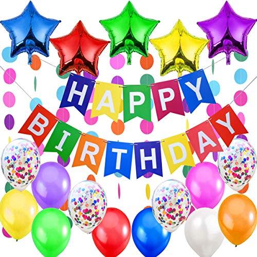 """Decoraciones Cumpleaños – 1 Bandera Banderines Feliz Cumpleaños """"Happy Birthday"""" + 5 Estrellas Globos de Aluminio + 2 Guirnaldas Arco de Iris de 3 metros + 12 Globos Multicolor y Confeti"""