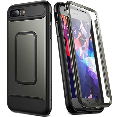 YOUMAKER iPhone 8/7 Plus Hülle doppellagige Hülle 360 Grad Schutzhülle mit eingebautem Displayschutz Wasserdicht Schutzhülle Case Stoßfestes für iPhone 8 Plus/iPhone 7 Plus 5,5 Zoll-Gun