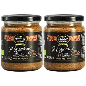 Planet Plant-Based Mantequilla de avellanas, 2 frascos (2x250g) - orgánica, vegana, sin gluten. 2 frascos (2x250g), sin aditivos, sin azúcar. Crema natural de avellanas