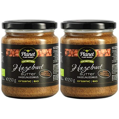Planet Plant-Based 2pack Bio Haselnussmus (2x250g) – Bio Haselnussmus Aus 100% Bio-Haselnüssen, Ohne Zusatzstoffe, Vegan, Glutenfrei, Ohne Zusatz Von Zucker - Natürliche Nussbutter