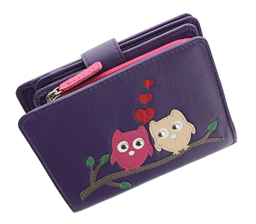 Mala Leather KYOTO Collection Applique Owl Purse With Tab Fastening 3179_45 Purple