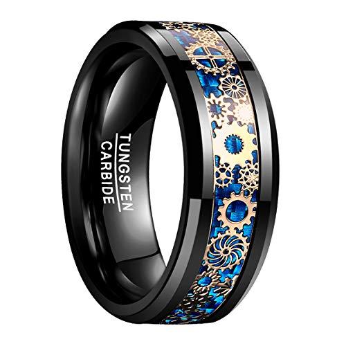 Natur Fashion - Herren Damen Ring Schwarz + Blau 8mm aus Wolfram mit goldenem Zahnrad Mechanik Design für Liebe Partnerschaft Freundschaft Größe 59