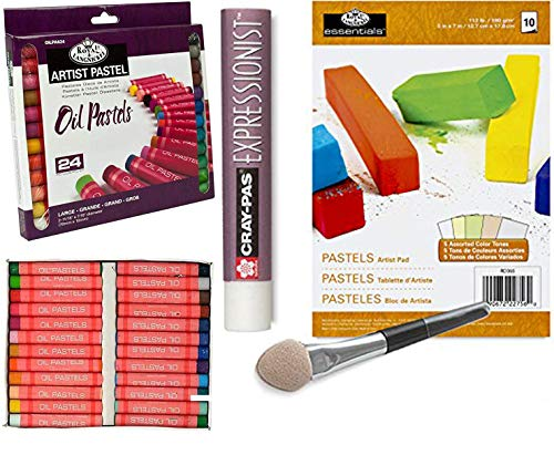 Oil Pastel Kit 24 colors with Pastel Paper Pad & Applicator smudger with clear blender/Extender set