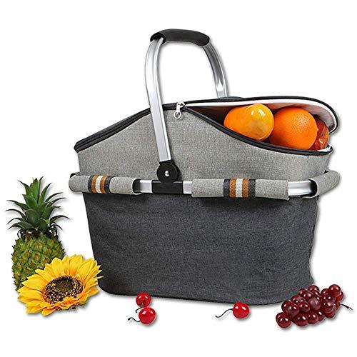 BANANAJOY Cesta de picnic de, Cesta de picnic carrito de aislamiento bolsa de bolsa de picnic de hielo marco de la bolsa de aluminio bolso de hielo del bolso del almuerzo de picnic Cesta for vacacione