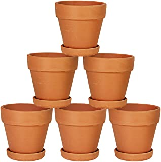 Terra Cotta Pots with Saucer- 6-Pack 4'' Clay Ceramic Pottery Planter Cactus Flower Pots Succulent Pot Drainage Hole- Great for Plants,Crafts,Wedding Favor Indoor/Outdoor Plant Crafts (4 inches)