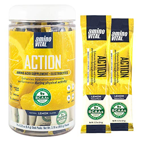 Amino VITAL Action- BCAA Amino Acids Pre Workout Packets with Electrolytes for Energy | No Caffeine, Keto, Vegan Supplement | 14 Single Serve | Lemon