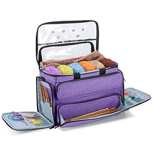 Yarwo Garntasche zum Stricken, Aufbewahrungstasche für Wolle, Häkeltasche Aufbewahrung für Strickprojekt und Häkelzubehör, Lila