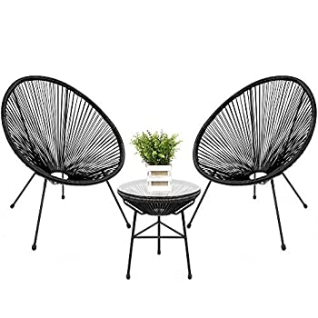 Best Choice Products 3-Piece Outdoor Acapulco All-Weather Patio Conversation Bistro Set w/Plastic Rope Glass Top Table and 2 Chairs - Black
