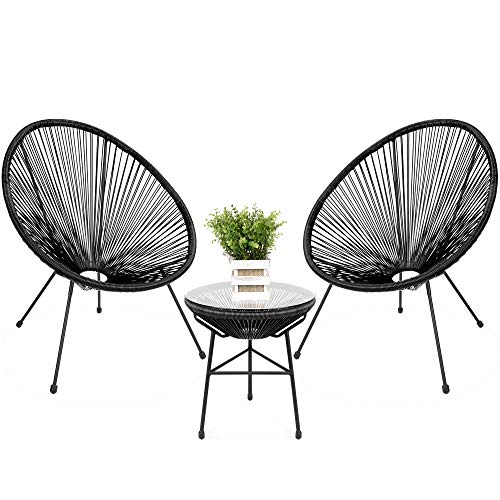 Best Choice Products 3-Piece Outdoor Acapulco All-Weather Patio Conversation Bistro Set w/Plastic Rope, Glass Top Table and 2 Chairs - Black