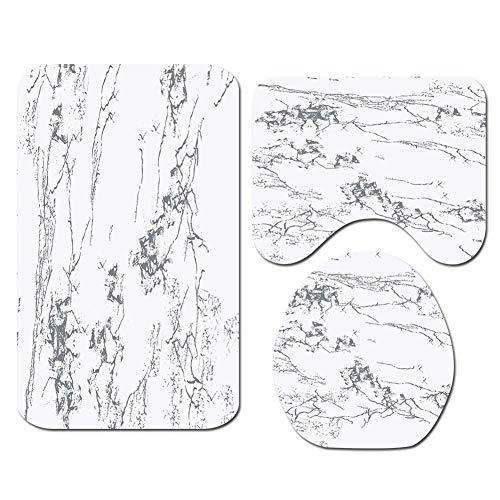 ETOPARS Marble Texture Badteppich Set 3-teilige weiche und rutschfeste Badematte, U-förmiger Konturteppich, Toilettendeckelabdeckung, Marmortextur 01