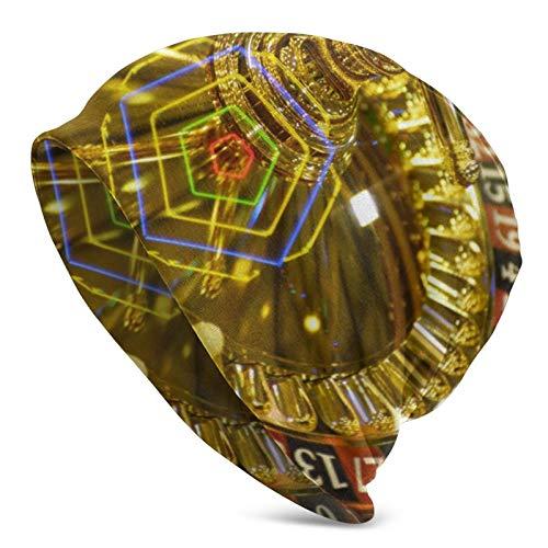 BGDFN Golden Casino Roulette Gambling and Casino Knit Hat Gorros Calientes Beanie Gorros elásticos Suaves con puños de Calavera Gorro Diario para Unisex
