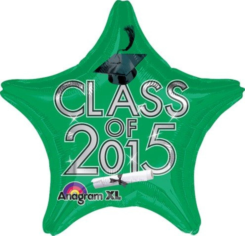 19 Inch Graduation Class of 2015 Green Balloon 5pack