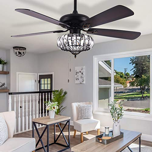 Crystal Ceiling Fan With Light Chandeliers Fan Light 52' Modern Lamp Walnut Fan Light Indoor Ceiling Fan for Living Room,Bedroom,Pull Chain Control