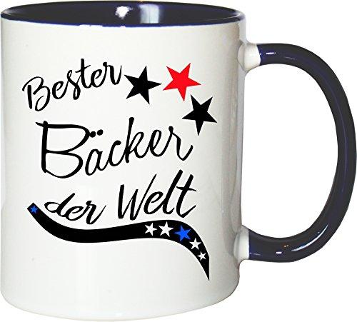 Mister Merchandise Becher Tasse Bester Bäcker der Welt. Kaffee Kaffeetasse liebevoll Bedruckt Beruf Job Arbeit Weiß-Blau