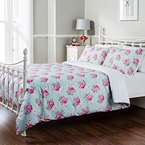 Pure Opulence Pretty Rose Floral Polka Double Duvet Quilt Cover Bedding Set