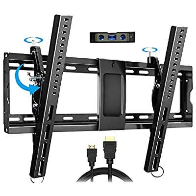 Amazon - Save 35%: Everstone Adjustable Tilt TV Wall Mount Bracket for Most 32-86 Inch LED,LCD,OLED,Plasma Flat Screen,Curved TVs,Low Profile,Up To VESA 600×400 and 165 lbs,Includes HDMI Cable and Level,Fits 16″,18″,24″