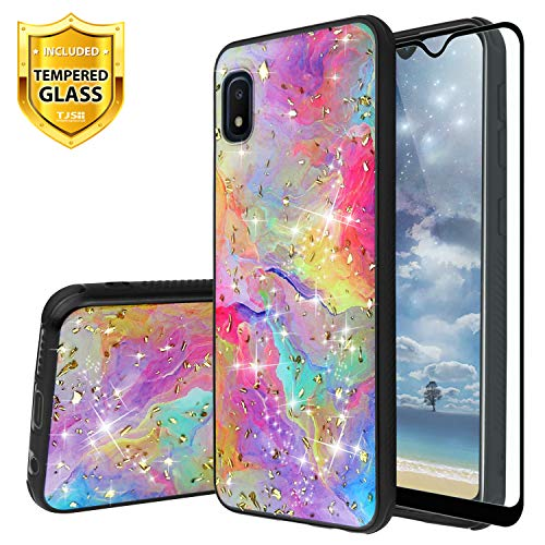 TJS Phone Case for Samsung Galaxy A10E 5.8' (Not Fit Galaxy A10/M10), with [Full Coverage Tempered Glass Screen Protector] Shiny Marble Glitter Back Skin Full Body Soft TPU Rubber Bumper (Rainbow)