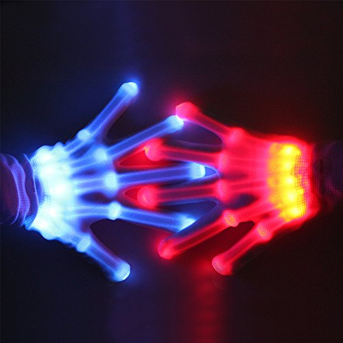 LED Gloves, 12 Color Flashing Finger Light Up Gloves with 4 Extra Batteries, Theefun LED Gloves for Kids, Cool Party Favor Toys Halloween Christmas Birthday Gifts for 8-14 Years Old Boys Girls, 1 Pair