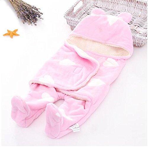 Jian Ya Na Baby Swaddle Deken Slaapzak Zachte Warm Fleece Inbakeren Dekens voor Bad, Air-Conditioned, Winter met klittenband, 25.6