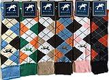 Rozgul Lot de 6paires de chaussettes montantes pour bottes d'équitation en coton majoritaire Motif cheval Taille 36-41